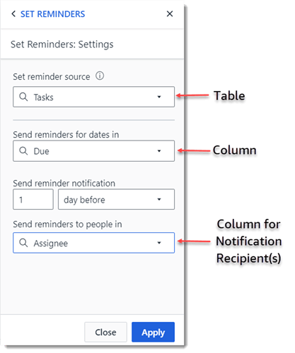 Set Notifications from a Table_Image 2
