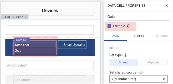Data cell properties