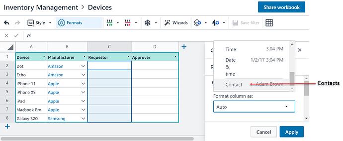 Format Column as Contact_Image