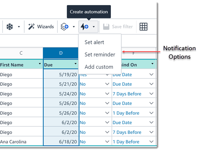 Set Notifications from a Table_Image 1