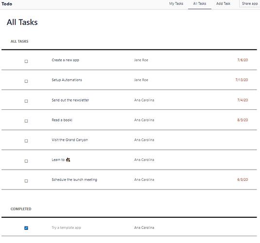 All Tasks Screen