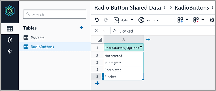 Radio Button Options Table Image