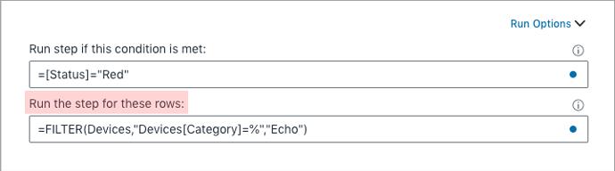 Run options specify row