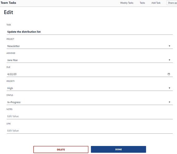 Edit Task Screen Image