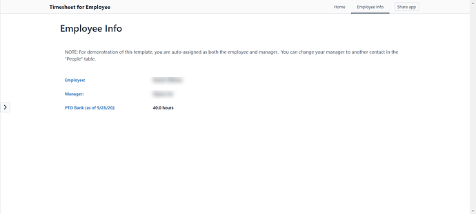 Employee Info Screen