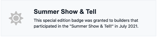 summer show and tell badge