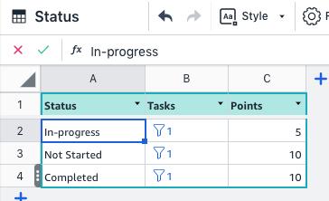 Filter function status